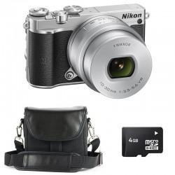 NIKON 1 J5 SILVER + 10-30 mm PDZ GARANTI 3 ans + MICRO SD 4 Go + Sac