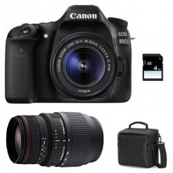CANON EOS 80D + 18-55 IS STM + SIGMA 70-300 DG APO MACRO GARANTI 3 ans + Sac + Carte SD 4 Go