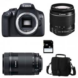 CANON EOS 1300D + 18-55 IS II + 55-250 IS STM GARANTI 3 ans + Sac + Carte SD 4Go