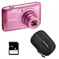 NIKON Compact Coolpix A300 ROSE + Etui + Carte SD 4 Go GARANTI 2 ans