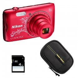 NIKON Compact Coolpix A300 ROUGE LINEART + Etui + Carte SD 4 Go GARANTI 2 ans