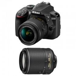 NIKON D3400 + 18-55 VR + 55-200 VR II GARANTI 3 ans