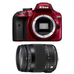 NIKON D3400 Rouge + SIGMA 18-200 OS HSM CONTEMPORARY GARANTI 3 ans