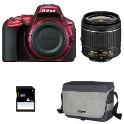 NIKON D5500 Rouge + 18-55 VR GARANTI 3 ans + Sac + SD 4Go