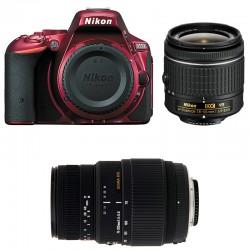 NIKON D5500 Rouge + 18-55 VR + SIGMA 70-300 DG MACRO