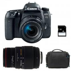 CANON EOS 77D + 18-55 IS STM + SIGMA 70-300 DG APO MACRO GARANTI 3 ans + Sac + Carte SD 4 Go
