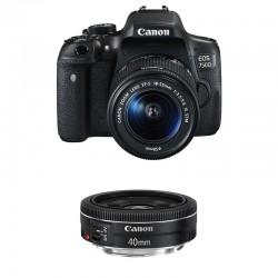 CANON EOS 750D + 18-55 IS STM + 40mm STM GARANTI 3 ans