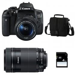 CANON EOS 750D + 18-55 IS STM + 55-250 IS STM GARANTI 3 ans + Sac + SD 4Go