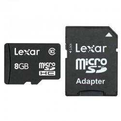 LEXAR Carte Micro-SDHC 8 Go Class 10 300X avec adaptateur / lecteur de carte