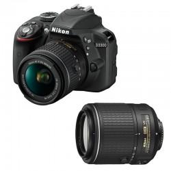 NIKON D3300 + 18-55 AF-P VR + 55-200 VR II GARANTI 3 ans