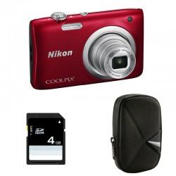 NIKON Coolpix A100 ROUGE GARANTI 2 ans + ETUI + SD 4 Go