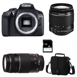 CANON EOS 1300D + 18-55 IS II + 75-300 III GARANTI 3 ans + Sac + Carte SD 4Go