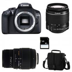 CANON EOS 1300D + 18-55 IS II + SIGMA 70-300 DG MACRO GARANTI 3 ans + Sac + Carte SD 4 Go