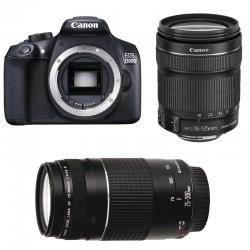 CANON EOS 1300D + 18-135 IS STM + 75-300 III GARANTI 3 ans