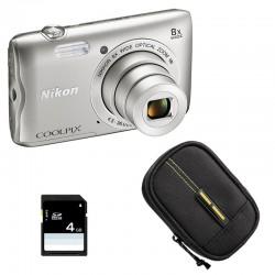 NIKON Compact Coolpix A300 SILVER + Etui + Carte SD 4 Go GARANTI 2 ans