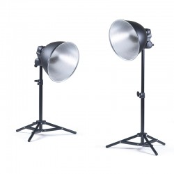 KAISER Kit d'éclairage N°2 comprenant 2 supports lampes [5860]. 2 réflecteurs