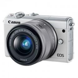 CANON EOS M100 BLANC + 15-45 GARANTI 3 ans + Coque CC-FJ001 turquoise + 50GB Irista 50GB