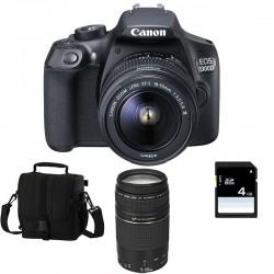CANON EOS 1300D + 18-55 III + 75-300 III GARANTI 3 ans + Sac + Carte SD 4Go