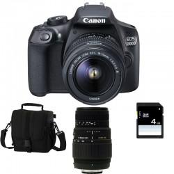 CANON EOS 1300D + 18-55 III + SIGMA 70-300 DG MACRO GARANTI 3 ans + Sac + Carte SD 4 Go