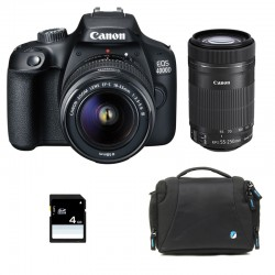 CANON EOS 4000D + 18-55 III + 55-250 IS Garanti 3 ans + Sac + SD 4Go