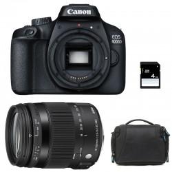 CANON EOS 4000D + SIGMA 18-200 Macro OS HSM Contemporary Garanti 3 ans + Sac + SD 4Go