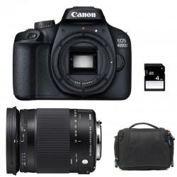 CANON EOS 4000D + SIGMA 18-300 Macro OS HSM Contemporary GARANTI 3 ans + Sac + SD 4Go