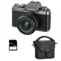 FUJIFILM X-T100 Dark Silver + Objectif XC15-45 PZ GARANTI 3 ans + Sac et Carte SD 4 Go