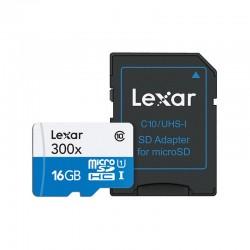 LEXAR Carte Micro-SDHC 16 Go Class 10 300X avec adaptateur / lecteur de carte