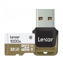 LEXAR Carte Micro-SDHC 32 Go 1000x 150 Mo/s UHS-II avec Lecteur USB
