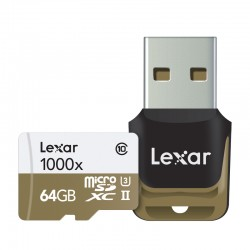 LEXAR Carte Micro-SDXC 64 Go 1000x 150 Mo/s UHS-II avec Lecteur USB