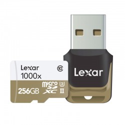LEXAR Carte Micro-SDXC 256 Go 1000x 150 Mo/s UHS-II avec Lecteur USB