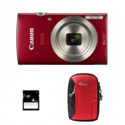 CANON Compact Ixus 185 Rouge GARANTI 2 ans + Sac et Carte SD 4 Go