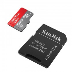 SANDISK Micro SD 64Go ULTRA + Adaptateur