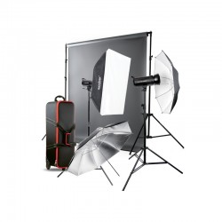 GODOX Kit éclairage studioSet - SK400II-E + kit support de fond + Fond 1.35m*11m