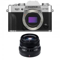 FUJIFILM X-T30 SILVER + 35mm f/2 WR Garanti 3 ans