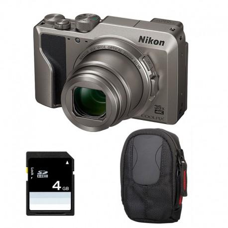 NIKON Compact Coolpix A1000 SILVER + Etui + Carte SD 4 Go