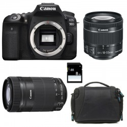 CANON EOS 90D + 18-55 IS STM + 55-250 IS STM + Sac + SD 8Go