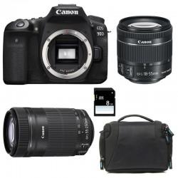CANON EOS 90D + 18-55 IS STM + 55-250 IS STM Garanti 3 ans + Sac + SD 8Go