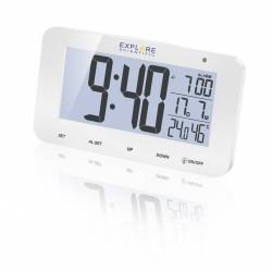 EXPLORE SCIENTIFIC Réveil projecteur radio-piloté blanc avec température