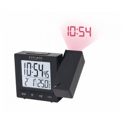 EXPLORE SCIENTIFIC Réveil projecteur radio-piloté avec température. noir