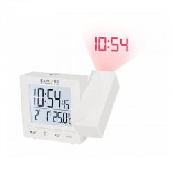 EXPLORE SCIENTIFIC Réveil projecteur radio-piloté avec température. blanc