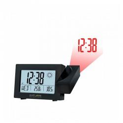 EXPLORE SCIENTIFIC Réveil projecteur radio-piloté avec prévision météo. noir