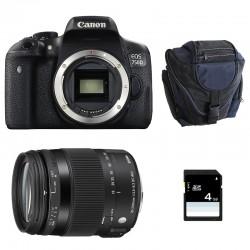 CANON EOS 750D + SIGMA 18-200 OS HSM Contemporary GARANTI 3 ans + Sac + SD 4Go
