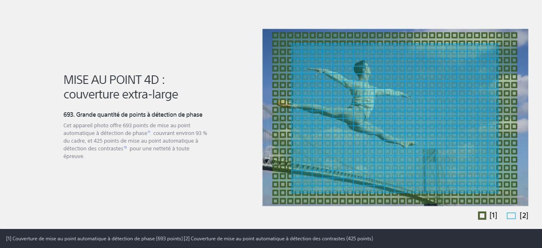Le Sony Alpha 7 III offre 693 points de mise au point automatique à détection de phase couvrant environ 93% du cadre, et 425 points de mise au point automatique à détection des constrastes pour une netteté à toute épreuve